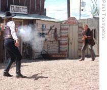 Actors recreate a gunfight in Tombstone