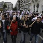 Protesters gather during a rally in Athens to protest against the government's tough austerity program.